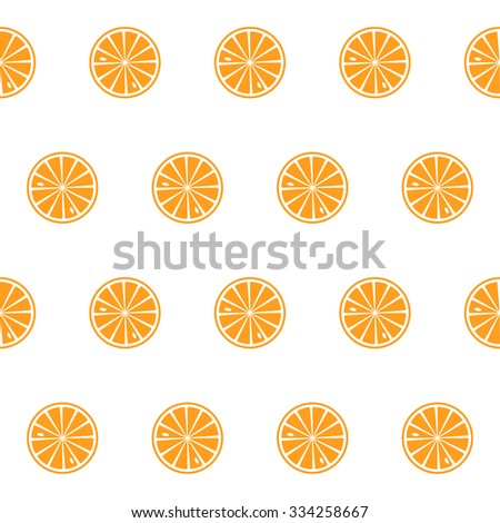 Seamless pattern with slices of citrus. Polka dots. Vector.