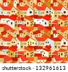 seamless pattern with spanish houses - stock