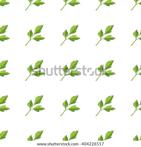 Seamless pattern with sprigs of parsley and coriander.