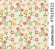 Seamless pattern with spring cute flowers - stock vector