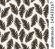 Seamless pattern with stylish fern leaves. Graphically natural print. Repeating texture - stock vector