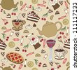 Seamless pattern with sweet, cups and teapots. Vector illustration with pastries, cups, cherry, teapots and candy - stock vector