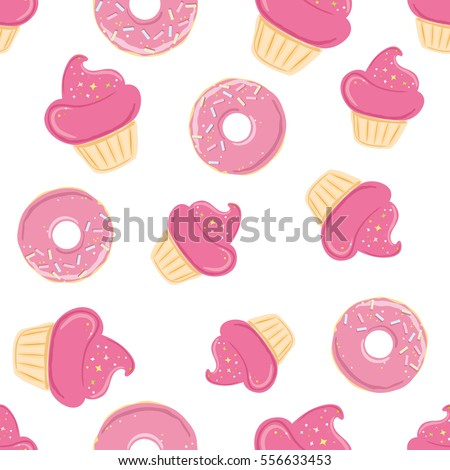 Seamless pattern with sweets - ice cream, donuts, cupcakes isolated in pink purple color on white background. Can use for birthday card, the children menu, packaging, textiles, fabrics, wallpaper