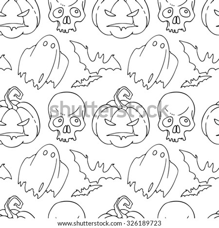 Seamless pattern with symbols of Halloween - a pumpkin, skull, ghost and bat. Contour pattern on a white background.