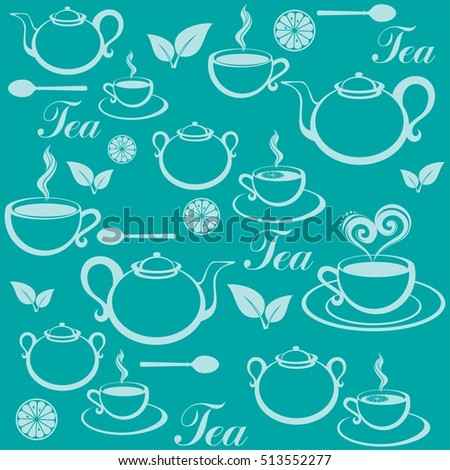 Seamless pattern with tea pots and tea cups. Vector Illustration