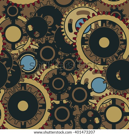 Seamless pattern with the gears and cogwheels. Vector wallpaper in steampunk style.