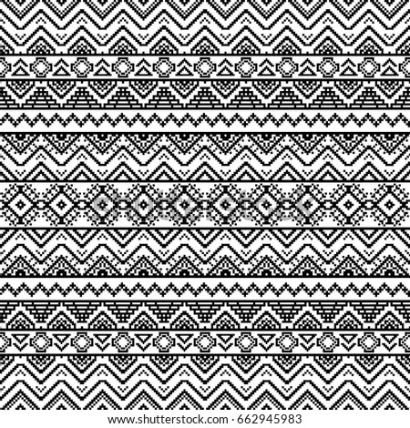 Seamless Pattern With Tribal Aztec Motives Black And White Abstract Wallpaper In Boho Style