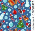 Seamless pattern with various Christmas elements - stock vector