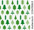 Seamless pattern with various Christmas trees - stock vector