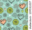 Seamless pattern with various hearts and circles. Vector vintage background with many details for greeting cards, gifts, arts, invitations - stock vector