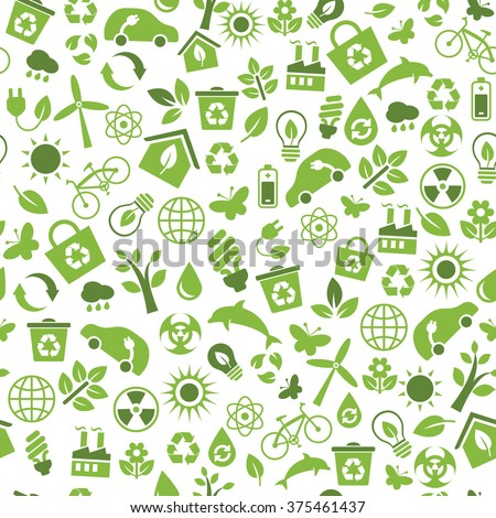 Seamless pattern with vector Eco Icons in flat style. Ecology, Nature, Energy, Environment and Recycle Icons. Green icons on white background for your design.