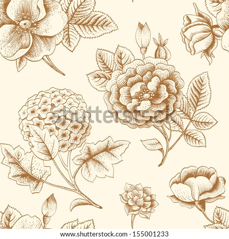Seamless pattern with vintage flowers. Garden roses, hydrangea and dog-rose flower. Vector illustration.