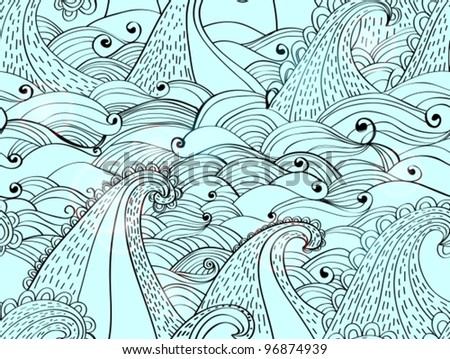seamless pattern with waves, beautiful blue vector illustration