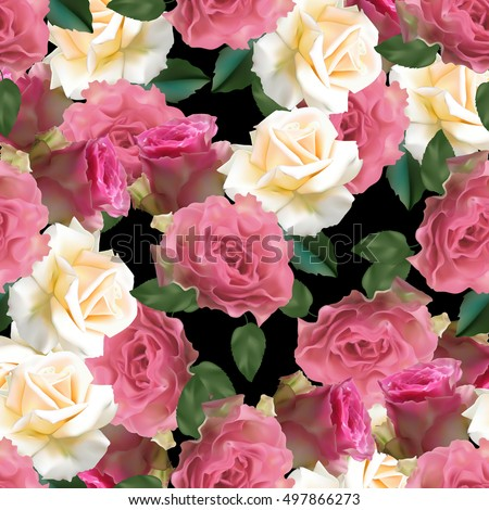 Seamless pattern with white and pink roses on a black background, vector illustration.