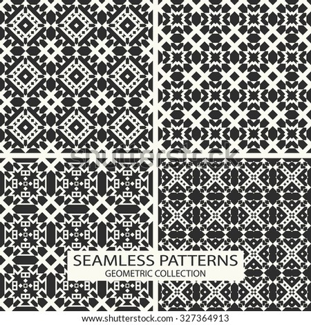 Seamless patterns vector collection. Set of 4 geometric designs.