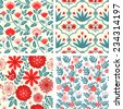 Seamless patterns with decorative flowers - stock