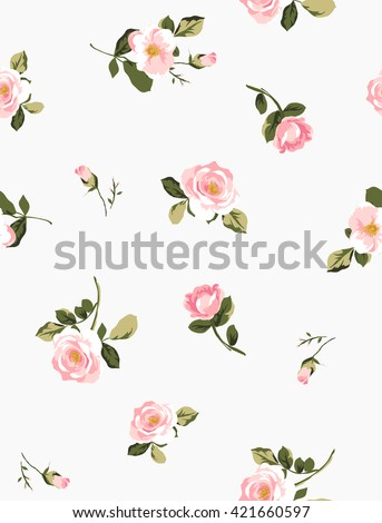 seamless pink flower pattern with background