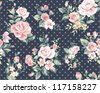 seamless pink vintage flower pattern on navy dot background - stock vector