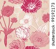 Seamless Poppy Background - for your design, scrapbook in vector - stock photo