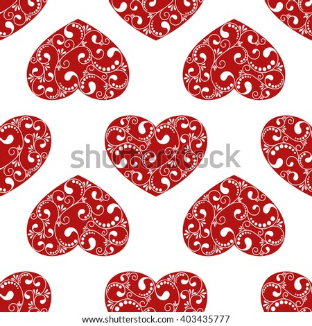 seamless red heart on white background. vector illustration