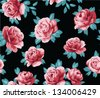 seamless red rose on sateen or silk fabric,floral pattern with black background for tropical theme - stock vector