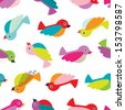 Seamless retro colorful birds illustration background pattern in vector - stock vector