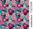 Seamless retro colourfull flower pattern in vector - stock
