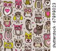 Seamless retro doodle owl pattern hand drawing in vector - stock vector