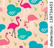 Seamless retro flamingo illustration decorative background pattern in vector - stock vector