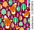 Seamless retro fox and forest tree kids background pattern in vector - stock vector