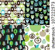 Seamless retro kids owl apple background pattern in vector - stock vector