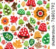 Seamless retro mushroom autumn deer pattern illustration in vector - stock