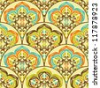 Seamless retro ornamental tiled pattern wallpaper - stock vector