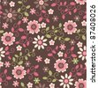 seamless retro vintage pink fflower pattern background - stock photo
