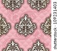 Seamless Rococo floral in pink (EPS10); - stock photo