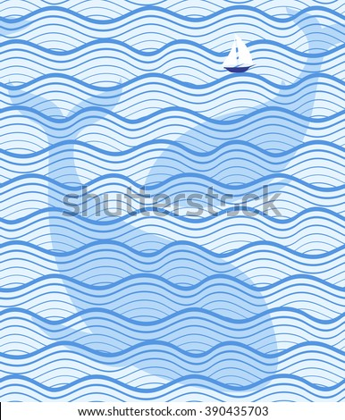 Seamless sea pattern. Vector marine illustration with waves, yacht and whales. Summer blue background.