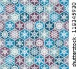 Seamless snowflakes background geometric pattern. winter theme. - stock vector