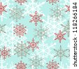 Seamless snowflakes background pattern. winter theme. Vector illustration - stock vector