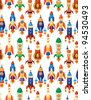 seamless spaceship pattern - stock photo