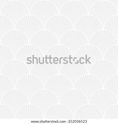 Seamless subtle gray japanese art deco floral waves pattern vector