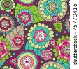 Seamless summer doodle flowers background pattern in vector - stock