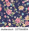 seamless summer floral pattern on navy background - stock vector