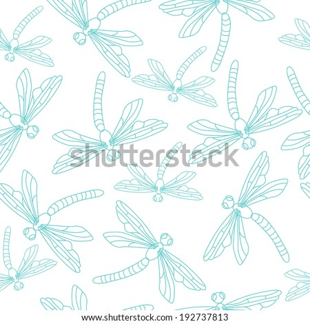 Seamless summer pattern with blue dragonflies