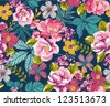 seamless summer tropical floral background vector pattern - stock vector