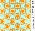 Seamless sun or flower pattern - stock vector
