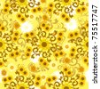 Seamless sunflower pattern. - stock vector