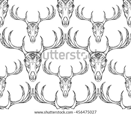 Seamless texture deer skull with horns and boho pattern. Vector background for your creativity