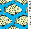 Seamless texture of the image sets of fish - stock vector