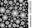 seamless texture with different snowflakes for your design - stock vector