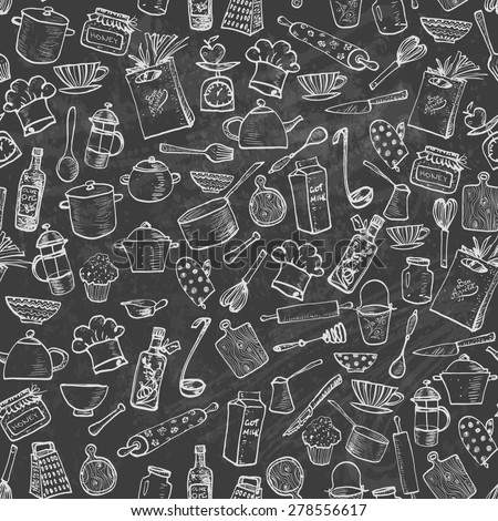 Seamless Texture Kitchen Doodle Sketch Utensils Stock Vector